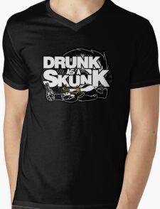 Drunk like a Skunk (Black Background) Mens V-Neck T-Shirt
