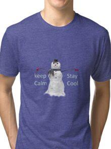 Snowman keep calm winter  Tri-blend T-Shirt