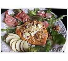 Pizza With Walnut, Apple and Salad Poster
