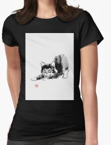 stretching cat Womens Fitted T-Shirt