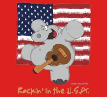 Hippo Rockin in the USA Baby Tee