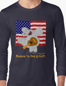 Hippo Rockin in the USA Long Sleeve T-Shirt