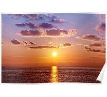 Sunset on Ligurian Sea Poster