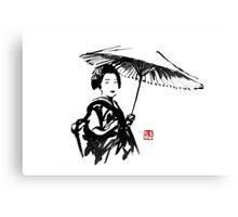 geisha under umbrella Canvas Print