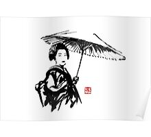 geisha under umbrella Poster
