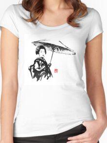geisha under umbrella Women's Fitted Scoop T-Shirt