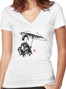 geisha under umbrella Women's Fitted V-Neck T-Shirt