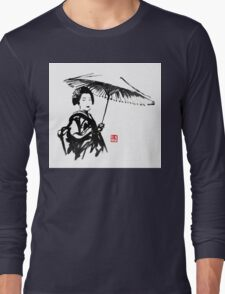 geisha under umbrella Long Sleeve T-Shirt