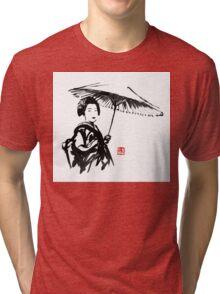 geisha under umbrella Tri-blend T-Shirt