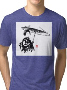 geisha under umbrella Tri-blend T-Shirt