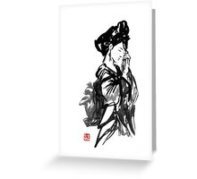 thinking geisha Greeting Card