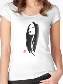 japanese woman Women's Fitted Scoop T-Shirt