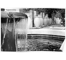 Fountain in BW Poster