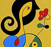 Girl with Flower (He Loves Me, He Loves Me Not) by Tony Velez