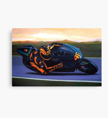 Valentino Rossi on Ducati painting Canvas Print