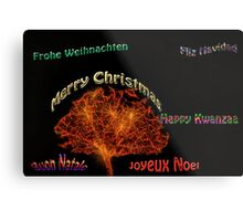 Merry Christmas in six different languages Metal Print
