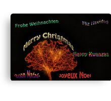 Merry Christmas in six different languages Canvas Print