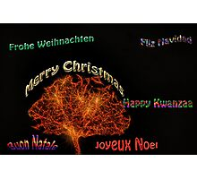 Merry Christmas in six different languages Photographic Print