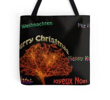 Merry Christmas in six different languages Tote Bag