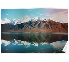 New Zealand mountain landscape with authentic light leak Poster