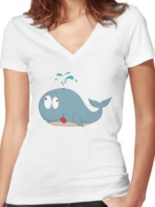 Cartoon whale Women's Fitted V-Neck T-Shirt