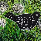 Blackbird amongst Dandelion Clocks by Susan Duffey