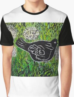 Blackbird amongst Dandelion Clocks Graphic T-Shirt