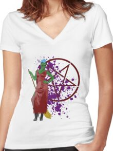 witch with mohican  Women's Fitted V-Neck T-Shirt