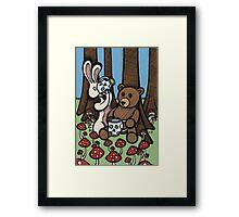 Teddy Bear and Bunny - The Mushroom Forest Framed Print