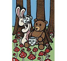 Teddy Bear and Bunny - The Mushroom Forest Photographic Print