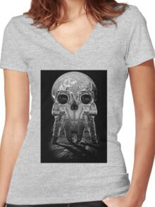 Astronaut Skull Women's Fitted V-Neck T-Shirt