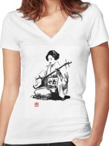 shamisen Women's Fitted V-Neck T-Shirt