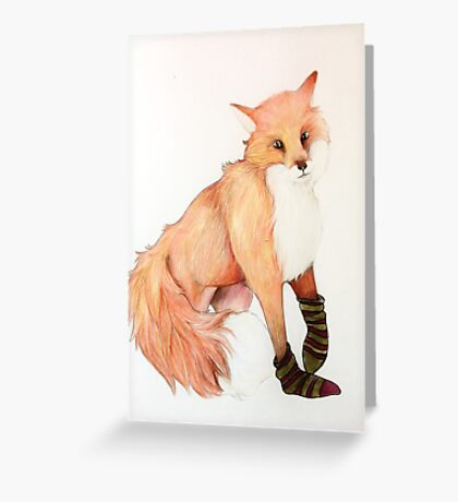 Fox with striped socks Greeting Card