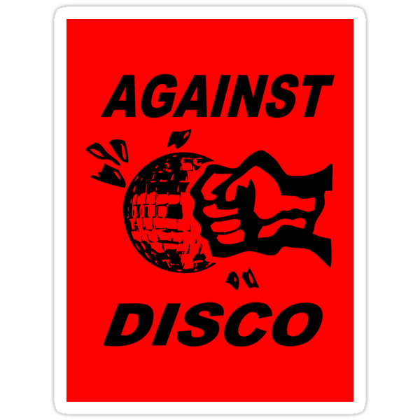 Against Disco (black + red) Sticker by Bela-Manson