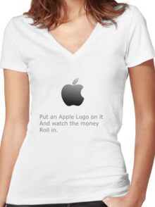 Put an Apple On it! Women's Fitted V-Neck T-Shirt