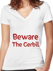 Beware the Gerbil Women's Fitted V-Neck T-Shirt