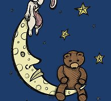Teddy Bear and Bunny - Caught In The Moonlight by Brett Gilbert