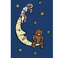 Teddy Bear and Bunny - Caught In The Moonlight Photographic Print