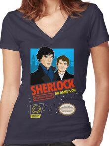 Sherlock NES Game Women's Fitted V-Neck T-Shirt