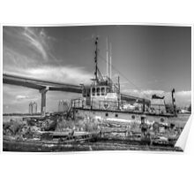 """Big Crab"" docked on a rusty floating dock at Potter's Cay in Nassau, The Bahamas Poster"