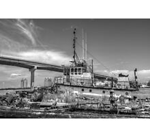 """""""Big Crab"""" docked on a rusty floating dock at Potter's Cay in Nassau, The Bahamas Photographic Print"""