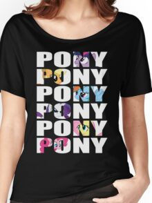 My Little Pony Mane Six 'PONY' White Lettering Women's Relaxed Fit T-Shirt