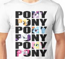 My Little Pony Mane Six 'PONY' Black Lettering Unisex T-Shirt