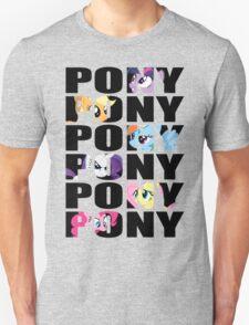 My Little Pony Mane Six 'PONY' Black Lettering Unisex T-Shirt