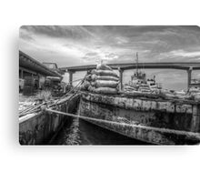 Unloading bags of coal in Potter's Cay - Nassau, The Bahamas Canvas Print