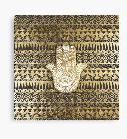 Faux Print Gold Hamsa Hand and Tribal Aztec Canvas Print
