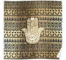 Faux Print Gold Hamsa Hand and Tribal Aztec Poster