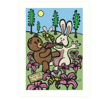 Teddy Bear And Bunny - Do Not Lick The Bees Art Print
