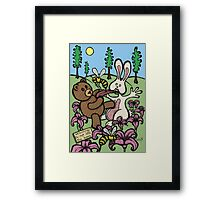Teddy Bear And Bunny - Do Not Lick The Bees Framed Print