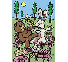 Teddy Bear And Bunny - Do Not Lick The Bees Photographic Print